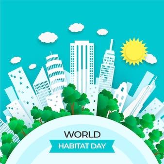 Giornata mondiale dell'habitat in stile carta
