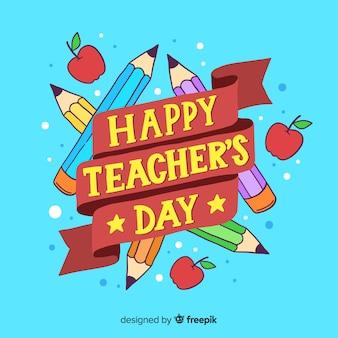 Giornata mondiale dell'insegnante lettering sfondo