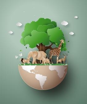 Giornata mondiale della fauna selvatica con l'animale nella foresta