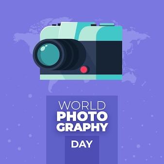 Giornata mondiale della fotografia di design piatto fotocamera retrò