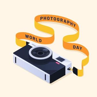 Giornata mondiale della fotografia di design piatto