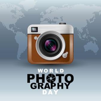 Giornata mondiale della fotografia, evento, macchina fotografica vintage, logo, tipografia.