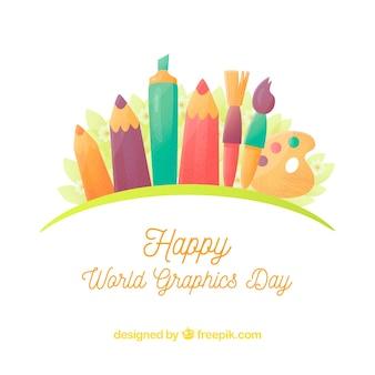 Giornata mondiale della grafica di sfondo con diversi strumenti per disegnare
