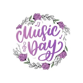 Giornata mondiale della musica lettering calligrafia pennello logo vacanza