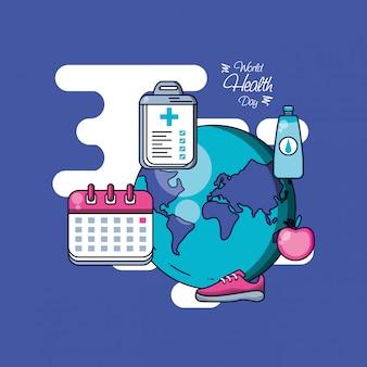 Giornata mondiale della salute con il pianeta e impostare le icone
