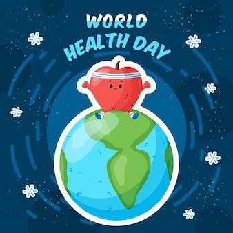 Giornata mondiale della salute con un forte cuore in cima al pianeta