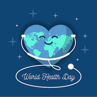 Giornata mondiale della salute design piatto ascoltando lo stetoscopio