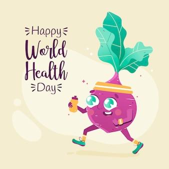 Giornata mondiale della salute disegnata a mano con barbabietola