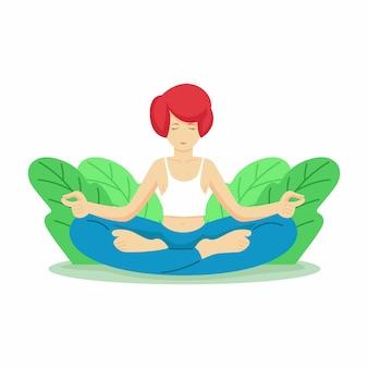 Giornata mondiale della salute felice con la donna che fa vettore di yoga. giornata internazionale dello yoga