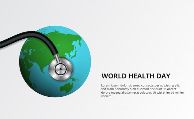 Giornata mondiale della salute. lo stetoscopio ha avvolto l'illustrazione del globo.