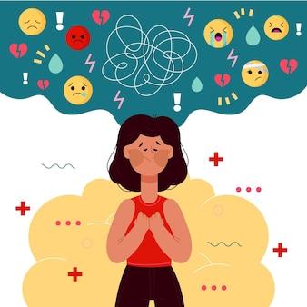 Giornata mondiale della salute mentale disegnata a mano con la donna