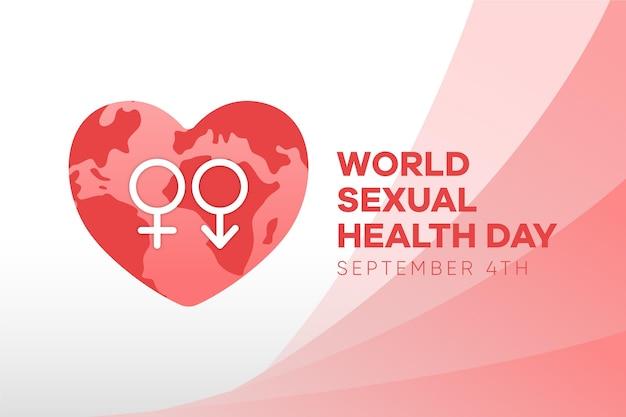 Giornata mondiale della salute sessuale con segni di genere e sfondo di cuore