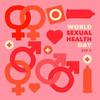 Giornata mondiale della salute sessuale sfondo con segni di genere