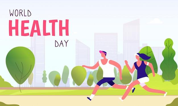 Giornata mondiale della salute sfondo. concetto globale di festa della medicina di sanità del corridore di divertimento di forma fisica della donna dell'uomo di stile di vita sano
