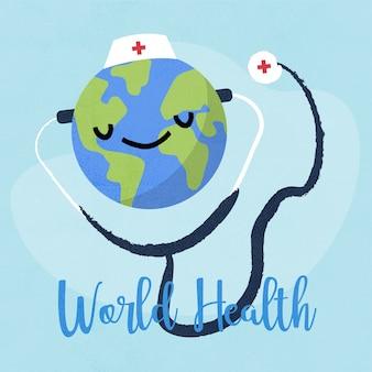 Giornata mondiale della salute sfondo disegnato a mano