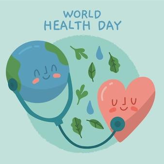 Giornata mondiale della salute stile disegnato a mano