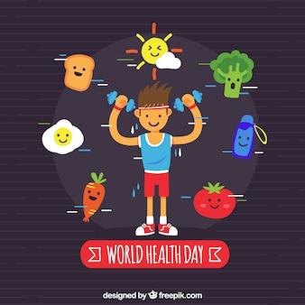 Giornata mondiale della salute sullo sfondo in stile piatto