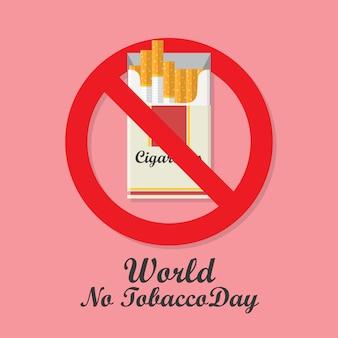 Giornata mondiale senza tabacco con segno di divieto del pacchetto di sigarette