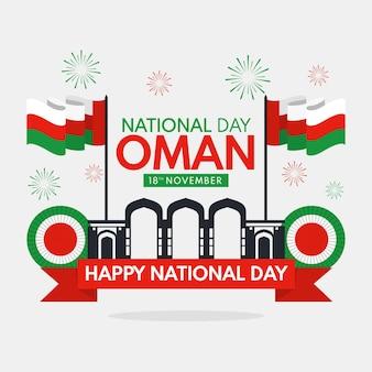 Giornata nazionale dell'oman illustrazione con fuochi d'artificio e bandiere