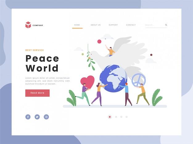 Giornata per la pace, la calma e l'armonia, l'uccello della colomba simbolico come un felice e rilassante globale, il flat tiny porta il segno di pace insieme spirituale.