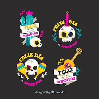Giornata piatta della collezione di badge morti