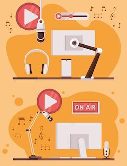 Giornata radiofonica internazionale con monitor computer