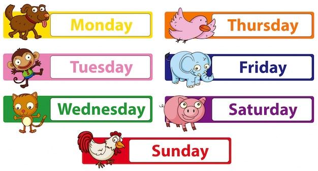 Giorni della settimana con animali sui cartelli