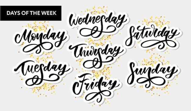 Giorni della settimana scritti a mano e set. carattere inchiostro. adesivi per planner e altro. clipart. isolato.