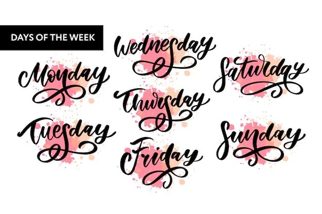 Giorni della settimana scritti a mano e set di simboli. carattere inchiostro. adesivi per planner e altro. clipart. isolato.