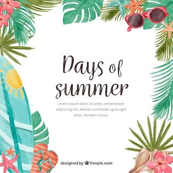 Giorni di sfondo estivo con elementi di acquerello