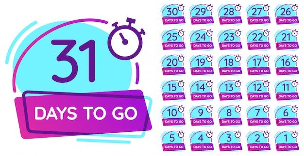 Giorni per andare badge. conto alla rovescia di giorno lavorativo, contatore della data di rilascio e insieme dell'illustrazione dei distintivi di numero del temporizzatore