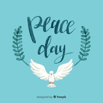 Giorno acquerello di composizione di pace con colomba bianca