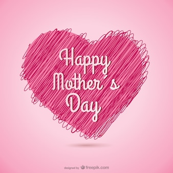 Giorno carta del cuore abbozzato felice della madre