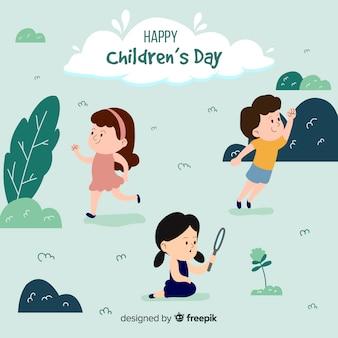 Giorno dei bambini che esplora priorità bassa dei bambini