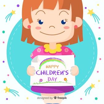 Giorno dei bambini felici con sorridere sveglio della ragazza