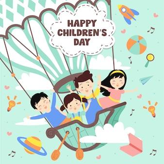 Giorno dei bambini felici sull'aerostato di aria calda