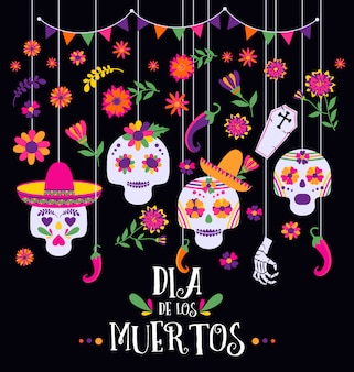 Giorno dei morti, dia de los muertos, banner con fiori e icone messicani colorati.