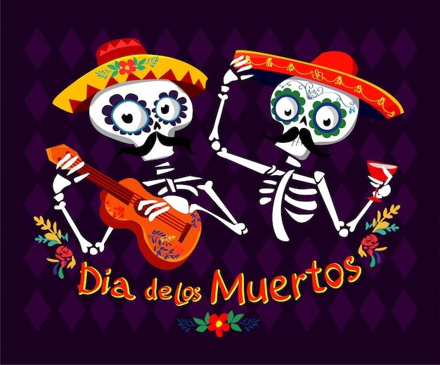 Giorno dei morti illustrazione vettoriale cartolina. dia de los muertos messicano.