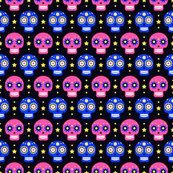 Giorno dei morti seamless con teschi colorati sul buio