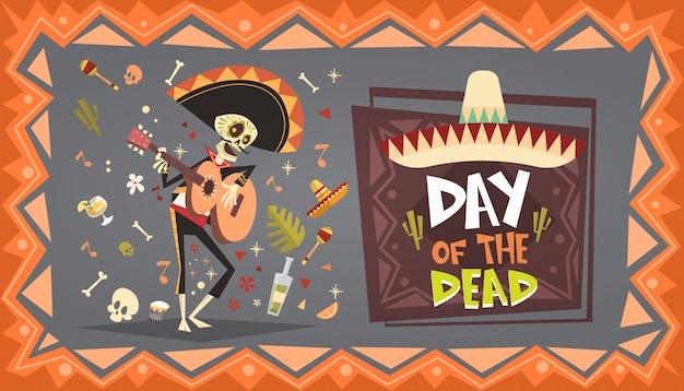 Giorno dei morti tradizionale messicano halloween dia de los muertos holiday party decorazione banner invito