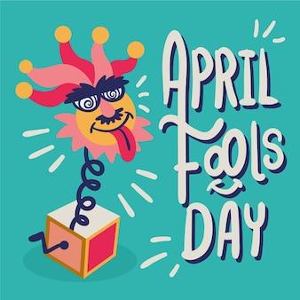 Giorno dei pesci d'aprile di stile disegnato a mano