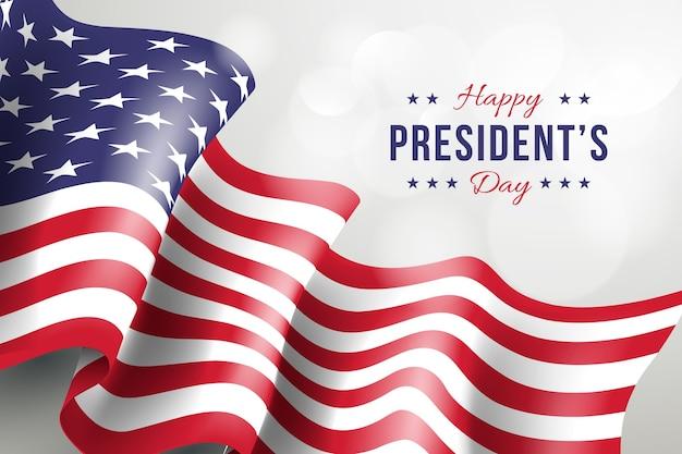Giorno dei presidenti con bandiera realistica e saluto