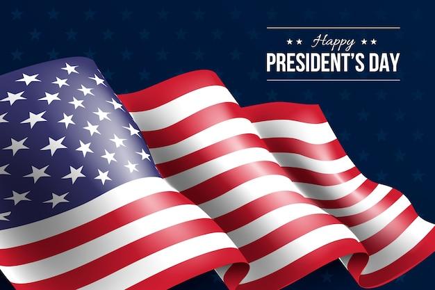 Giorno dei presidenti con bandiera realistica