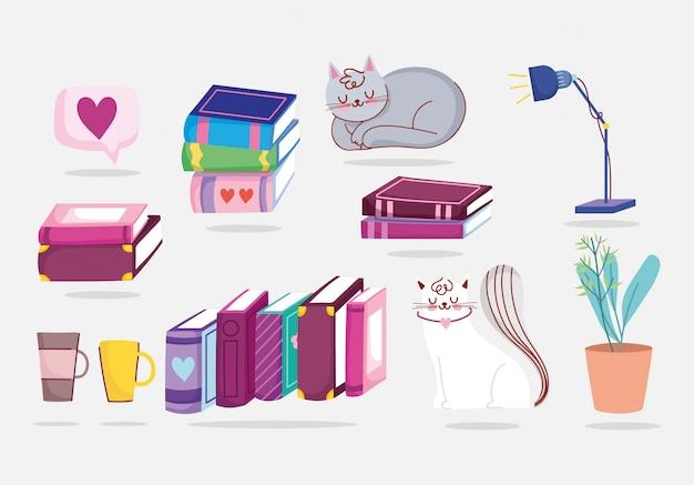 Giorno del libro, tazza di caffè della lampada della pianta dei libri dei gatti