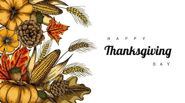 Giorno del ringraziamento sfondo con fiori e foglie