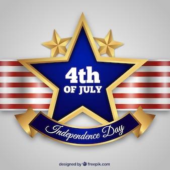 Giorno dell'indipendenza degli Usa con stelle dorate
