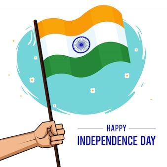 Giorno dell'indipendenza 15 agosto bandiera dell'india in mano