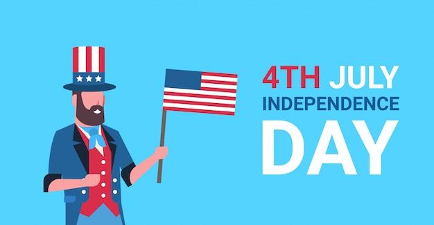 Giorno dell'indipendenza 4 luglio uomo barba abiti tradizionali bandiera degli stati uniti che celebra il cappello