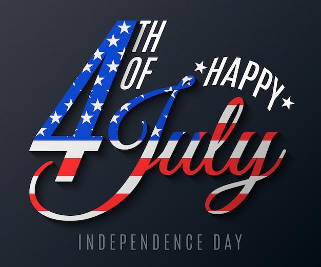 Giorno dell'indipendenza. biglietto di auguri per il 4 luglio. banner di testo festivo su uno sfondo nero. bandiera degli stati uniti d'america.