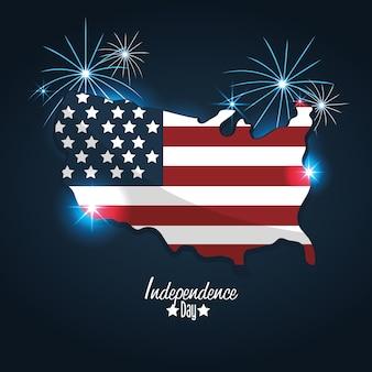 Giorno dell'indipendenza con design di bandiera e mappa